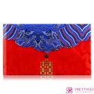 O'Pretty 歐沛媞 緞面紅包袋/禮金袋-橫式囍字祥瑞藍(18.5X11cm)【美麗購】