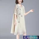 襯衫洋裝 夏新款韓版大碼寬鬆遮肚子洋裝女中顯瘦刺繡a字襯衫裙子 星河光年