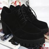 【Nami&Yami】㊣正韓空運✈學院風素色綁帶厚底鞋(黑)