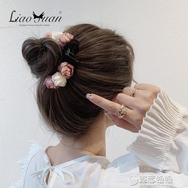 氣質仙美韓國丸子頭盤發器森系抓夾大號發夾后腦勺花朵馬尾夾頭飾 草莓妞妞