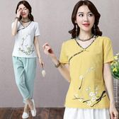 棉麻上衣女裝2018夏季新款印花短袖大碼寬鬆民族風亞麻棉T恤女潮