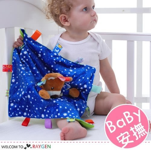 卡通動物造型標籤寶寶睡眠安撫巾 玩具 玩偶