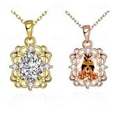 項鍊 玫瑰金純銀 水晶吊墜-鑲鑽精緻生日母親節禮物女飾品2色73br34【時尚巴黎】