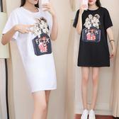 海外發貨不退換大尺碼圓領T裙洋裝連身裙321新款韓版中長款短袖t恤加肥加大大碼女裝(F5044B)