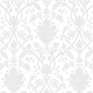 歐NINE壁紙-白色大馬士革 89191