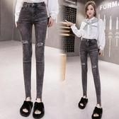 依Baby 牛仔窄管褲 秋季新款煙灰色破洞貼布牛仔褲女高腰緊身顯瘦小腳鉛筆褲