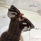 太陽眼鏡 vcruan 13c茶色墨鏡潮人眼鏡不規則圓形半框太陽鏡偏光大框墨鏡  下標免運