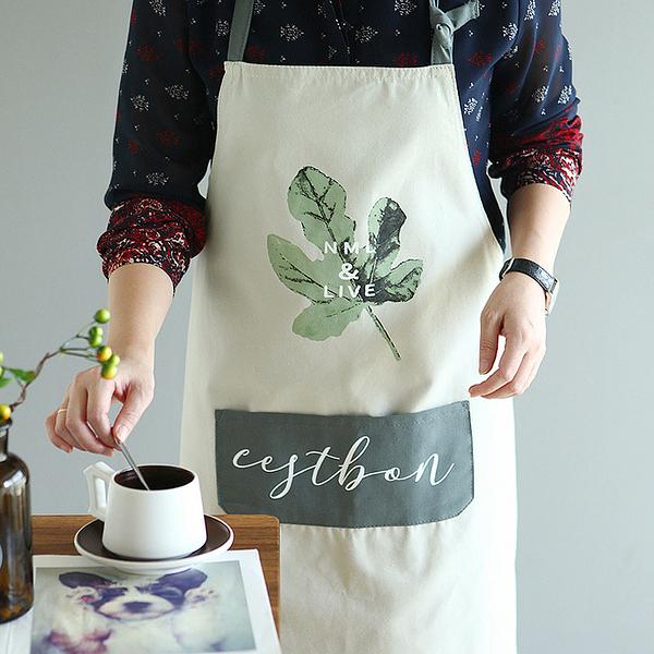 日式純棉廚房防汙圍裙北歐做飯清潔韓版時尚圍腰男女工作服