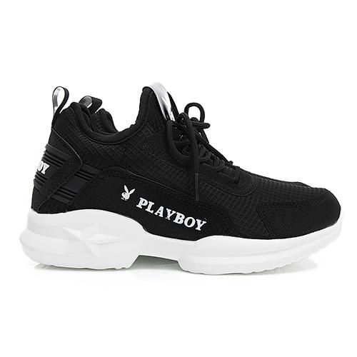 PLAYBOY 極簡率性 襪套式內增高休閒鞋-黑(Y5775)
