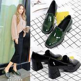 粗跟單鞋女中跟復古漆皮春季方扣小皮鞋工作鞋方頭高跟鞋『夢娜麗莎精品館』
