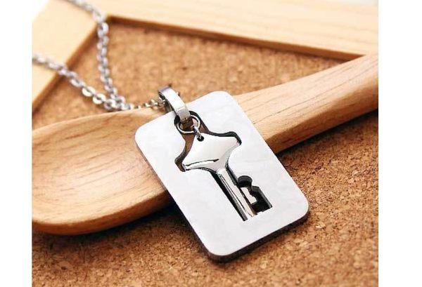 時尚鈦鋼◆愛的鎖匙◆手環+項鍊