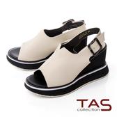 TAS小v剪裁寬繫帶配色厚底楔型涼鞋-時尚米