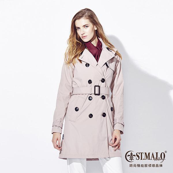 【ST.MALO】英倫保暖雙排長風衣-1562WC-冰晶粉