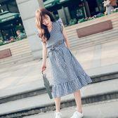 售完即止-夏季新款V領中長款格子韓版女裝飛飛袖收腰顯瘦荷葉邊裙潮9-20(庫存清出T)