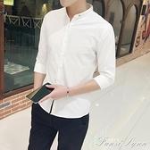 七分袖襯衫男夏季韓版潮流立領帥氣亞麻短袖襯衣中袖棉麻寸衫男士 范思蓮恩