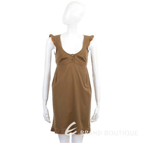 Kristina Ti 咖啡色大U領造型洋裝 0820038-07