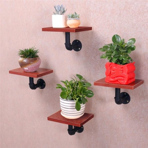 鐵藝隔板壁掛置物架水管層板書架墻上置物架墻壁花架一字隔板擱板