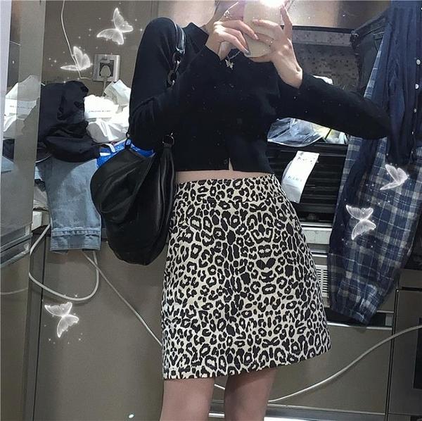 夏季豹紋a型短裙a字裙