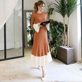 ✎﹏₯㎕ 米蘭shoe  韓版氣質時尚喇叭袖修身長袖中長款針織連衣裙