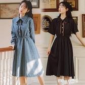 雪紡長袖連身裙女法式復古收腰長裙學生顯瘦氣質赫本小黑裙學院風 喜迎新春