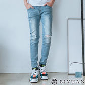 【OBIYUAN】牛仔褲 韓國製 獨家 刷破破壞 三角扣環 單寧長褲共1色【BPA161】