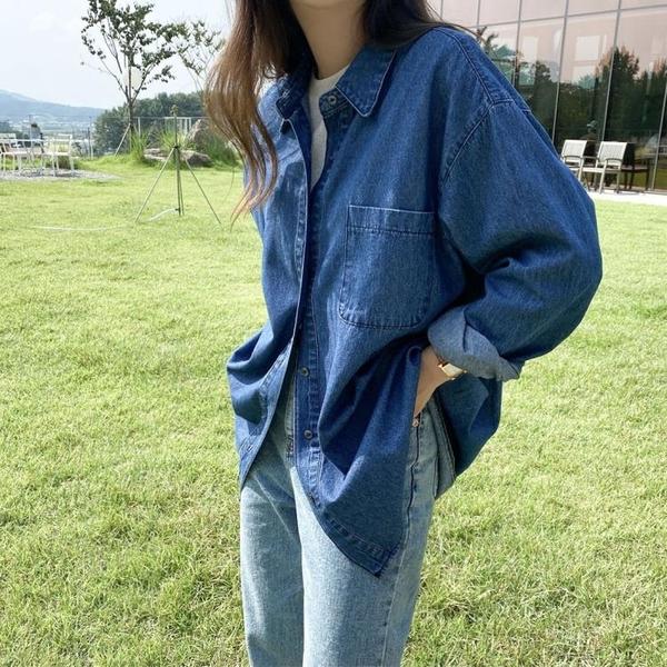 牛仔外套女 復古藍色牛仔襯衫女港味小眾長袖寬鬆襯衣外套薄款上衣潮【快速出貨八折搶購】