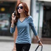 全館83折 秋裝新款韓版修身V領純棉上衣大碼顯瘦長袖T恤打底衫女裝體恤