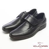 CUMAR超輕軟底真皮魔術帶舒適皮鞋-黑