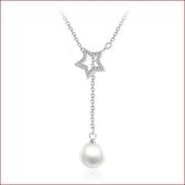 項鏈十字鎖骨鏈 鑲鉆五角星吊墜 珍珠銀飾項鏈s153