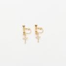 Queen Shop【07030678】十字水鑽造型耳夾式耳環*現+預*
