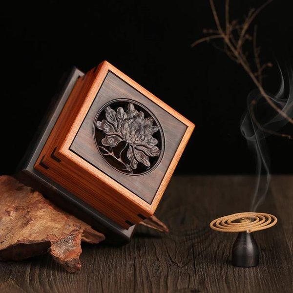 [超豐國際]紅木香盒 黑檀木盤香爐 實木質線香盒 花梨木塔香1入