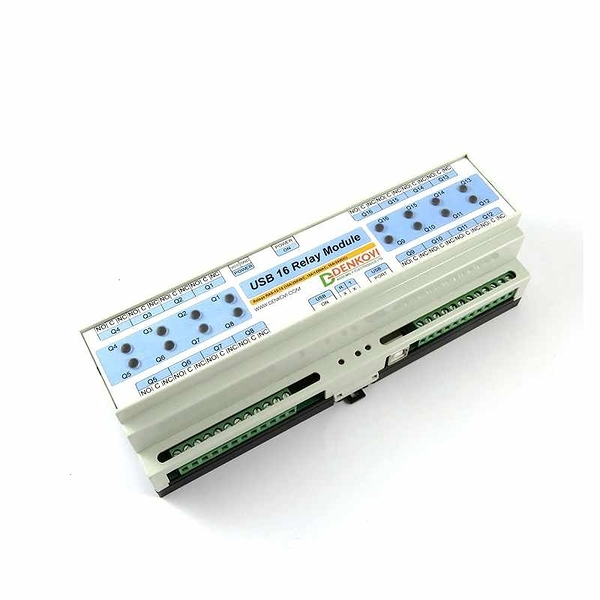 Denkovi USB 16 Channel Relay Board for Automation- DIN Rail Box, 24VDC [2美國直購]