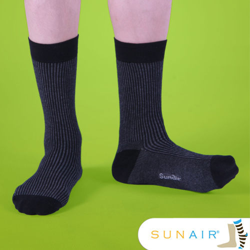 sunair 滅菌除臭襪子- 時尚紳士襪L(25~29) (黑+灰)  /SA0801