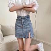 裙子短裙包臀裙4A909牛仔裙短裙高腰a字裙辣妹包臀開叉裙MB023.胖丫