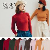 Queen Shop【01012259】素面高領坑條合身針織毛衣 九色售 *現+預*