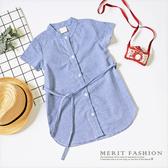 親子裝 氣質條紋綁帶弧形下擺襯衫 長版 襯衫 小洋裝 短袖 上衣 女童 韓版 綁帶 哎北比童裝