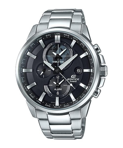 【時間道 】【CASIO。EDIFICE】簡約三眼多功能腕錶-黑面鋼(ETD-310D-1)免運費
