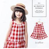 純棉 經典夏日紅色格紋棉麻背心洋裝 小洋裝 連身裙 渡假風 哎北比童裝