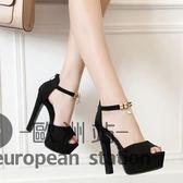 涼鞋/夏季粗跟新品防水台水鑽吊墜一字顯瘦女14cm超高跟模特鞋「歐洲站」