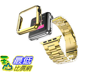 [105美國直購] 蘋果錶帶 Apple watch Band Stainless Steel Watchband with Plated Apple Watch Gold 42mm B010NIXQZE