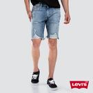 Levis 男款 牛仔短褲 / 上寬下窄 502 版型 / 抽鬚大刷破