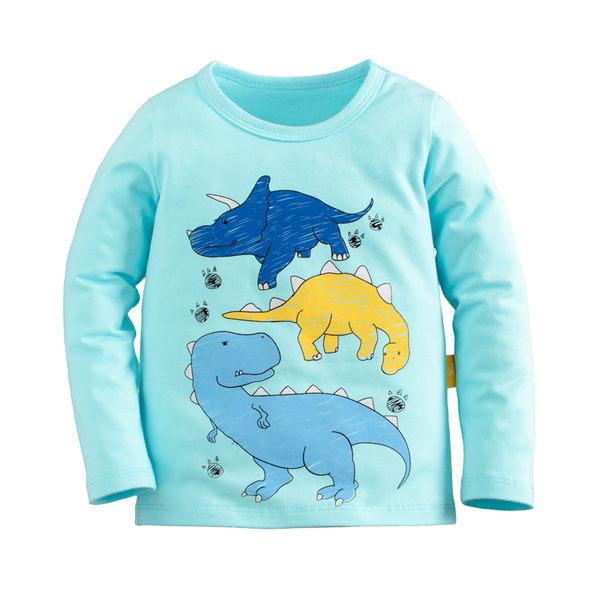 童裝 現貨 純棉中大童印花長袖上衣-淺藍衣三色恐龍【91066-4】