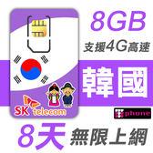 【TPHONE上網專家】韓國 高速上網卡 8天無限上網 (前面8GB 支援4G高速)