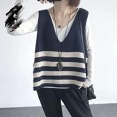 針織馬甲 秋裝新款大碼坎肩馬夾外套寬鬆V領條紋針織馬甲毛衣背心女裝上衣