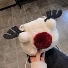 秋冬毛茸茸小包包女2019新款可愛毛毛包馴鹿圣誕單肩斜挎包小方包