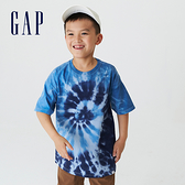 Gap男童 碳素軟磨系列 紮染短袖T恤 755650-藍色紮染