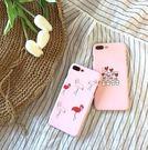 【SZ15】iPhone7plus手機殼 粉嫩ins風手繪火烈鳥 磨砂半包硬殼 iPhone6/6s plus手機殼