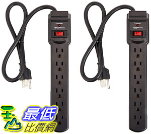 [8美國直購] 插座延長線 AmazonBasics 6-Outlet Surge Protector Power Strip 2-Pack, 2-Foot Long Cord, 200 Joule - Black