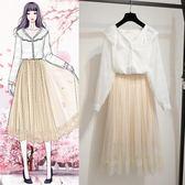 現貨 2019新款女裝春裝春秋很仙的套裝洋氣時尚法國小衆連衣裙子兩件套 長袖裙裝