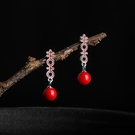 新年耳飾 喜字耳釘女純銀復古耳飾民族風新娘中式結婚裝飾耳墜【快速出貨八折鉅惠】